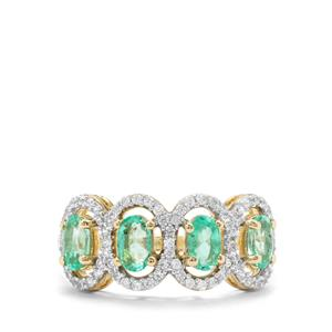Colombian Emerald & White Zircon 9K Gold Ring ATGW 1.41cts