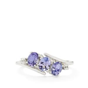 AA Tanzanite & White Zircon 10K White Gold Ring ATGW 1.16cts