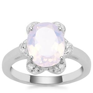 Sapucaia Quartz Ring with White Zircon in Sterling Silver 3.20cts