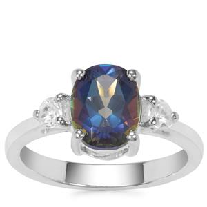 Mystic Blue Topaz Ring with White Zircon in Sterling Silver 2.62cts