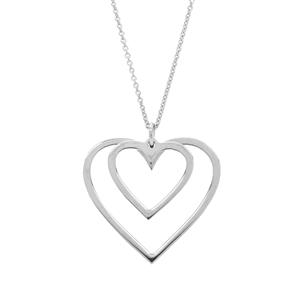 "16"" Sterling Silver Altro Double Heart Necklace 1.39g"