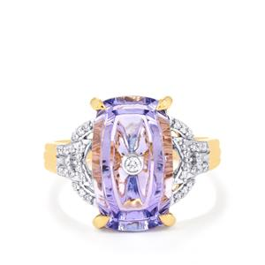 Lehrer TorusRing AA Tanzanite Ring with Diamond in 18K Gold 5.65cts