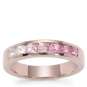 Pink Tourmaline Ring with White Topaz in Rose Gold Plated Sterling Silver 0.98ct