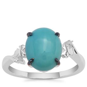Sleeping Beauty Turquoise Ring with White Zircon in Sterling Silver 2.77cts