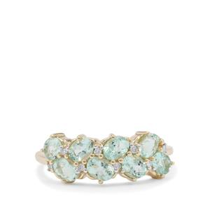 Aquaiba™ Beryl Ring with Diamond in 9K Gold 1.30cts