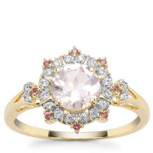 Alto Ligonha Morganite, Pink Tourmaline Ring with White Zircon in 9K Gold 1.05cts