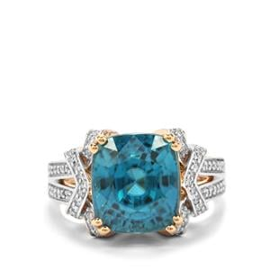 Ratanakiri Blue Zircon Ring with Diamond in 18K Gold 11.93cts