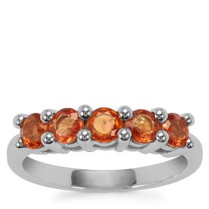 Songea Sunset Sapphire Ring in Sterling Silver 1.38cts