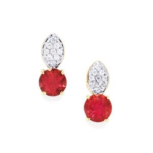 Cruzeiro Rubellite & White Zircon 10K Gold Earrings ATGW 0.61cts