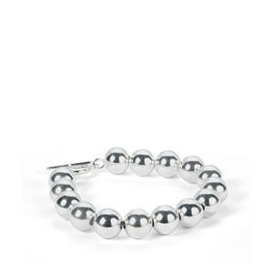 "8"" Sterling Silver T-Bar Clasp Ball Bracelet 14.8g"