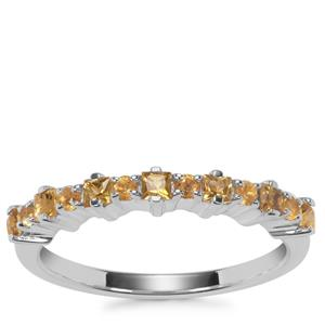 Yellow Tourmaline Ring with Citrine in Sterling Silver 0.45cts
