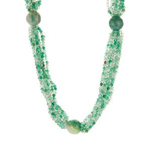 Green Agate Bead Necklace in Sterling Silver 416.95cts
