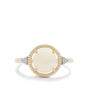 Ethiopian Opal Ring with White Zircon in 9K Gold 1.55cts
