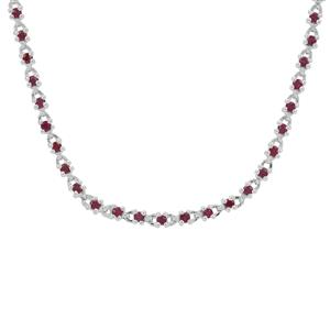 Burmese Ruby Necklace with White Zircon in Sterling Silver 2.70cts