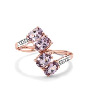 Mahenge Purple Spinel Ring with Diamond in 10K Rose Gold 1.86cts