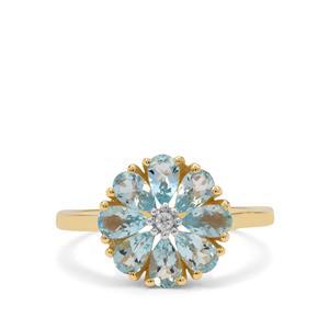 Santa Maria Aquamarine Ring with White Zircon in 9K Gold 1.40cts