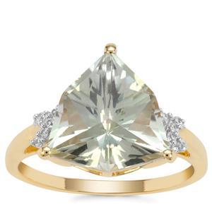 Alpine Cut Prasiolite Ring with White Zircon in 9K Gold 4.30cts