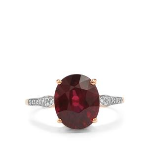 Malawi Garnet Ring with Diamond in 18K Rose Gold 4.49cts