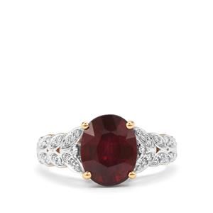 Malawi Garnet Ring with Diamond in 18K Gold 4.43cts