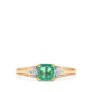 Ethiopian Emerald Ring with Diamond in 18K Gold 0.95cts