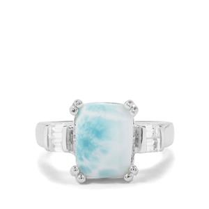Larimar & White Zircon Sterling Silver Ring ATGW 4.71cts