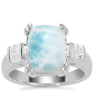 Larimar Ring with White Zircon in Sterling Silver 4.71cts