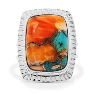 Oyster Copper Mojave Turquoise Ring in Sterling Silver 13cts