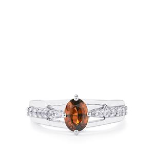 Cinnamon Zircon Ring with White Topaz in Sterling Silver 1.36cts