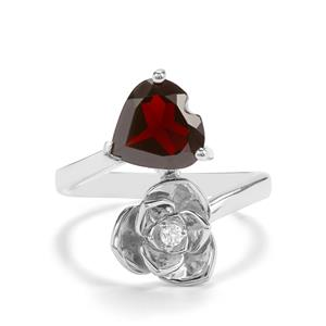 Nampula Garnet & White Topaz Sterling Silver Ring ATGW 2.53cts