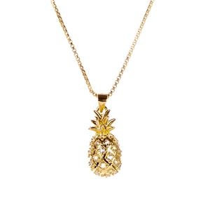 White Topaz Pineapple Slider Necklace in Gold Tone Sterling Silver 0.28ct
