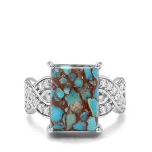 Egyptian Turquoise & White Zircon Sterling Silver Ring ATGW 7.85cts