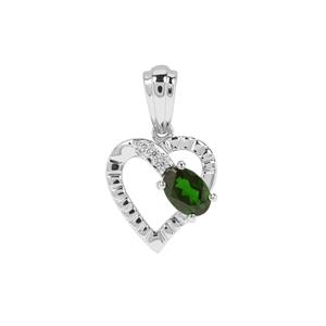 Chrome Diopside Heart Pendant with White Zircon in Sterling Silver 0.92ct