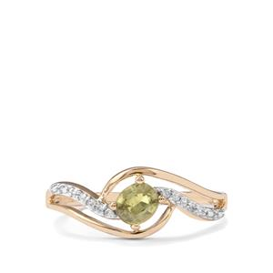 Ambanja Demantoid Garnet & White Zircon 9K Gold Ring ATGW 0.59cts