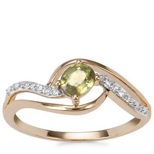 Ambanja Demantoid Garnet Ring with White Zircon in 9K Gold 0.59ct