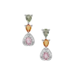 Songea Rainbow Sapphire Earrings with White Zircon in Sterling Silver 1.02cts