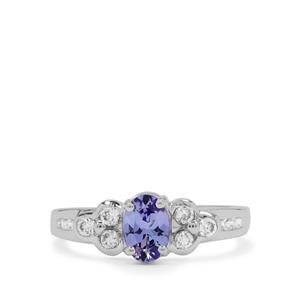 A Tanzanite Ring with White Zircon in Sterling Silver 1.15ct