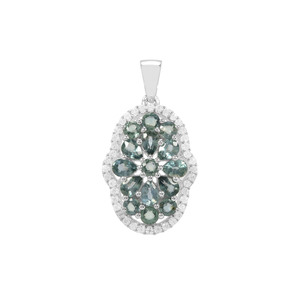 Natural Umba Sapphire Pendant with White Zircon in Sterling Silver 3.41cts