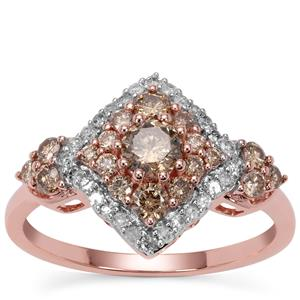 Cape Champagne Diamond Ring with White Diamond in 9K Rose Gold 1cts