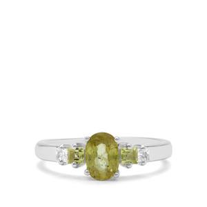 Ambilobe Sphene, Changbai Peridot & White Zircon Sterling Silver Ring ATGW 1.34cts