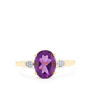 Kenyan Amethyst Ring with Diamond in 9K Gold 1.70cts