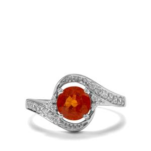 Mandarin Garnet Ring with White Zircon in 10K White Gold 1.84cts