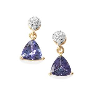 AA Tanzanite Earrings with Diamond in 9K Gold 1.50cts