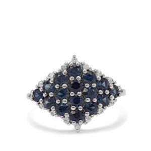 Australian Blue Sapphire & White Zircon 9K White Gold Ring ATGW 1.85cts