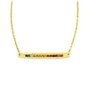 0.95ct Rainbow Tourmaline Gold Vermeil Bridge Necklace