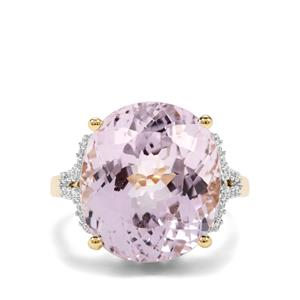 Kolum Kunzite & Diamond 18K Gold Lorique Ring MTGW 13.34cts