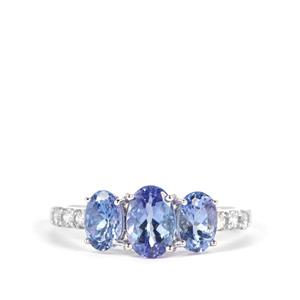 Tanzanite Ring with White Zircon in 9K White Gold 2.07cts