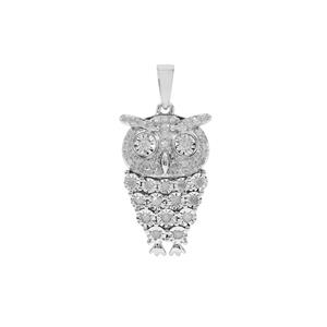 Diamond Owl Pendant in Sterling Silver 0.52ct