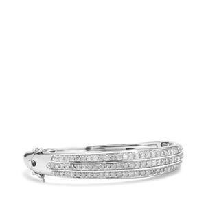 4.05ct Diamond Sterling Silver Oval Bangle