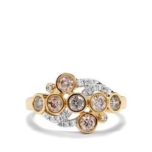 Natural Coloured Diamond Ring with White Diamond in 18k Gold 1.05ct