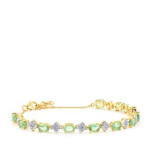 Nuagaon Kyanite Bracelet with Diamond in 10k Gold 6.73cts